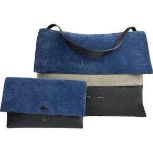 Céline Tri Colour suede leather  shoulder bag